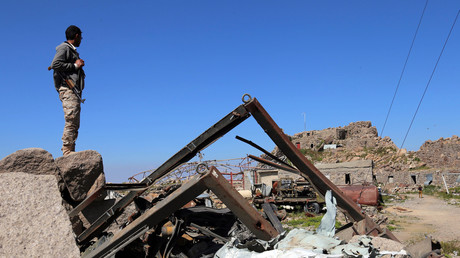 Ruines d'un centre de télécommunication de Taëz en novembre (image d'illustration)