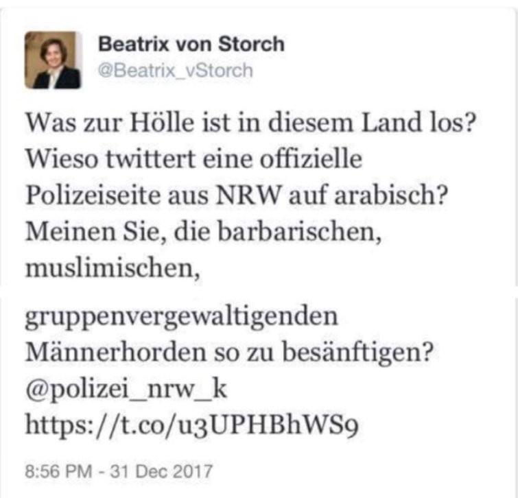 Cologne : la porte-parole de l'AfD dénonce un tweet en arabe de la police, qui porte plainte