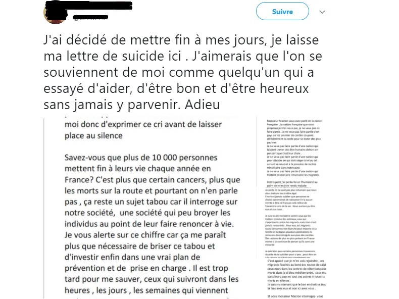Evoquant les migrants dans un tweet, il menace de se suicider mais la police arrive à temps