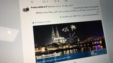 Tweet de vœux de la police de Cologne, capture d'écran @polizei_nrw_k