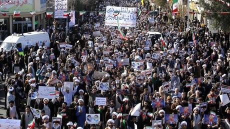 Manifestation en faveur du gouvernement iranien dans la ville de Qom le 3 janvier