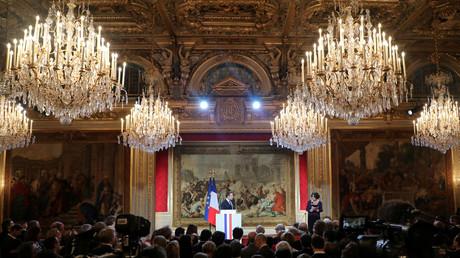 Emmanuel Macron lors de ses voeux à la presse