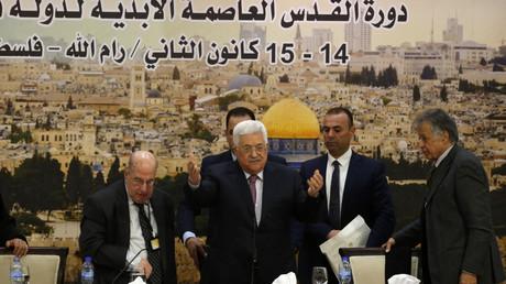Le président de l'Autorité palestinienne Mahmoud Abbas à son arrivée à la réunion le 14 janvier, à Ramallah en Cisjordanie.