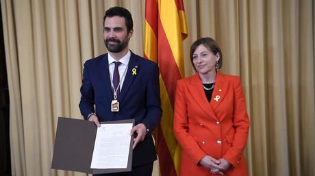 L'indépendantiste Roger Torrent a été élu président du Parlement catalan, photo ©LLUIS GENE / AFP