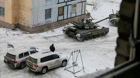 Des chars ukrainiens dans l'est de l'Ukraine. Image d'archive.