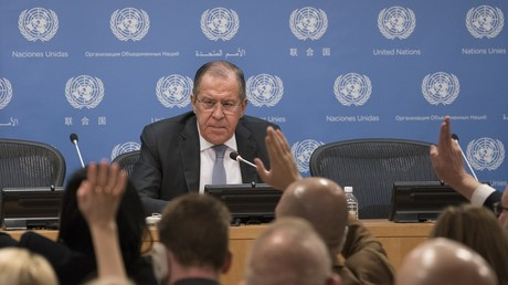 Le chef de la diplomatie russe Sergueï Lavrov à un point presse au Siège de l'ONU le 19 janvier 2018