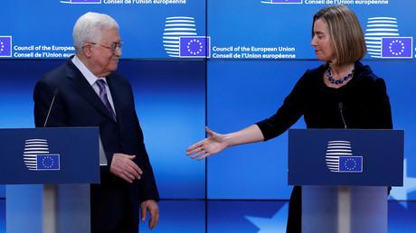 Mahmoud Abbas, président de l'Autorité palestinienne et Federica Mogherini, chef de la diplomatie européenne, le 22 janvier 2018, photo ©Yves Herman/Reuters