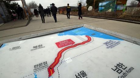 Carte représentant les deux Corées et la frontière les séparant (Image d'illustration)