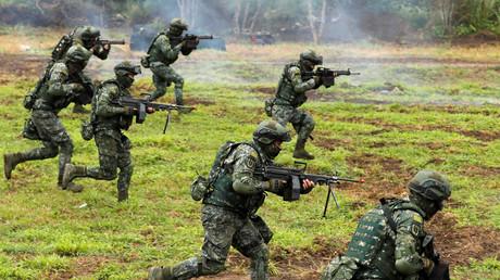 Soldats Taïwanais lors de l'exercice militaire à Hualien.