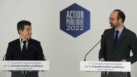 Gérald Darmanin et Edouard Philippe, en conférence de presse pour présenter le plan de transformation de la fonction publique