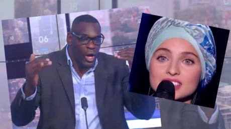 Montage de captures d'écran du sportif Patrice Quarteron et de la chanteuse Mennel Ibtissem