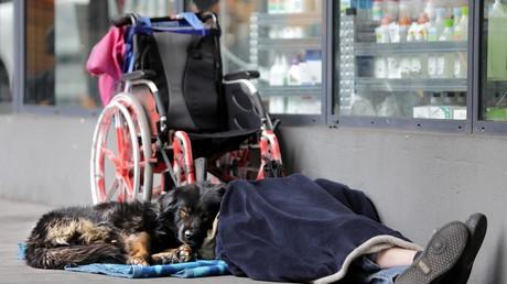 Un sans abri à Nice. Image d'illustration