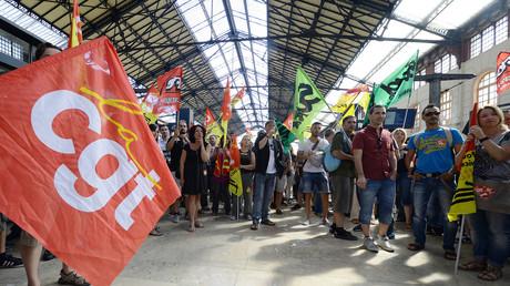Image d'illustration, manifestation des syndicats contre une réforme de la SNCF en juin 2014.