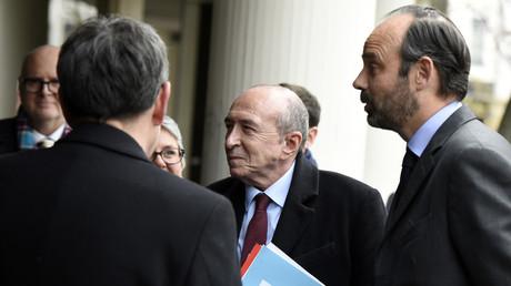 Le ministre de l'Intérieur Gérard Collomb et le Premier ministre Edouard Philippe, le 19 février à Lyon