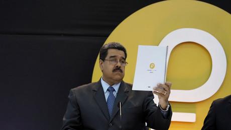 Le président vénézuélien Nicolas Maduro lors du lancement de la cryptomonnaie Petro à Caracas, le 20 février 2018