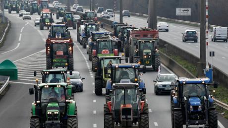 L'une des actions des agriculteurs qui ont protesté contre l'accord UE-Mercosur le 21 février 2018