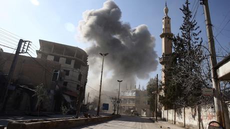 Echange de tirs dans la Ghouta, le 21 février 2018, photo ©Bassam Khabieh/Reuters