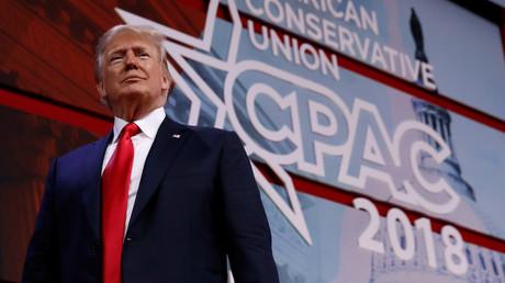Donald Trump lors du CPAC, réunion annuelle des conservateurs américains, le 23 février 2018, photo ©Kevin Lamarque/Reuters
