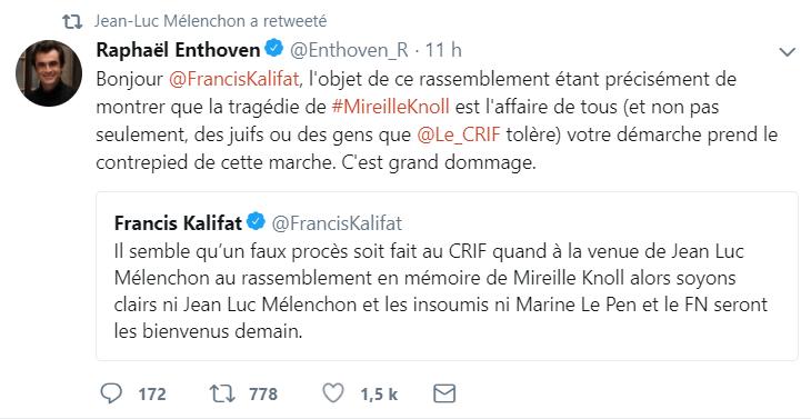 Indésirables selon le Crif, Mélenchon et Le Pen se rendront à la marche blanche