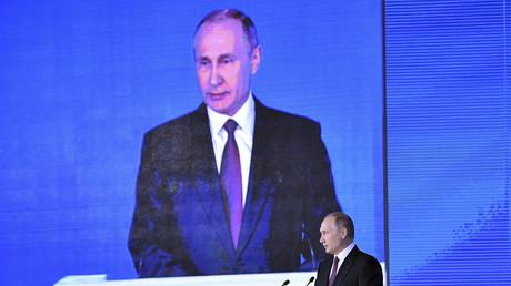 Vladimir Poutine lors de son discours le 1er mars 2018