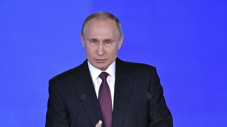 Vladimir Poutine, lors de son adresse annuelle aux parlementaires russes, le 1er mars 2018