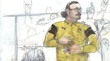 Esquisse représentant Jawad Bendaoud lors de son procès.