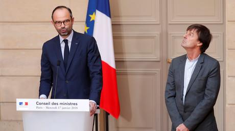 Edouard Philippe et Nicolas Hulot annoncent l'abandon du projet d'aéroport à Notre-Dame-des-Landes le 17 janvier, à l'Elysée, illustration