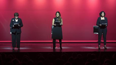 Roselyne Bachelot, Marlène Schiappa et Myriam El Khomri le 7 mars au théâtre Bobino.