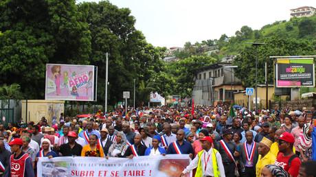 Manifestation contre l'insécurité dans le chef-lieu de Mayotte Mamoudzou, le 7 mars
