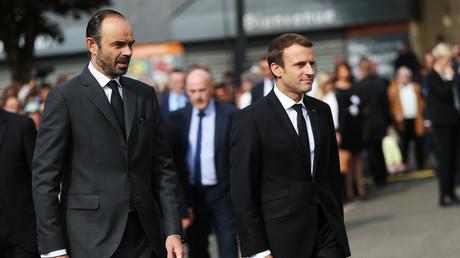 Le Premier ministre Edouard Philippe et le président de la République Emmanuel Macron le 26 juillet 2017 à Saint-Etienne-du-Rouvray.