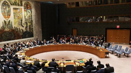 Les diplomates du Conseil de sécurité de l'ONU réunis le 12 mars 2018 à New York.