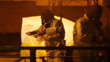 Périmètre de sécurité à Salisbury après la découverte de Sergueï Skripal et de sa fille inanimés sur un banc