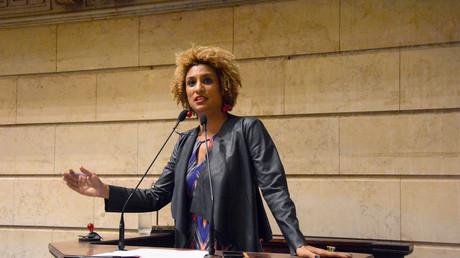 Marielle Franco le 21 février 2018, à la chambre municipale de Rio de Janeiro peu avant sa mort.