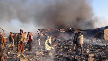 Dommages occasionnés par les frappes sur la ville de Saada tenue par les rebelles Houthis en janvier 2018.