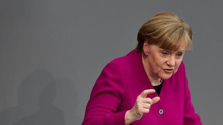 La chancelière allemande Angela Merkel lors de son discours au Bundestag, le parlement allemand, au cours duquel elle a abordé la situation à Afrin.