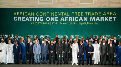 Les 44 chefs d'Etat africains posent à l'occasion de la signature à Kigali (Rwanda), le 21 mars 2018, de l'accord créant la Zone de libre-échange d'Afrique continentale.