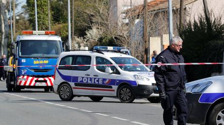 La police en opération de sécurisation du site de la prise d'otage à Trèbes, le 23 mars, illustration