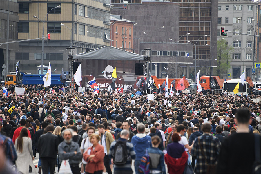 Manifestation à Moscou contre le blocage de la messagerie Telegram (IMAGES)