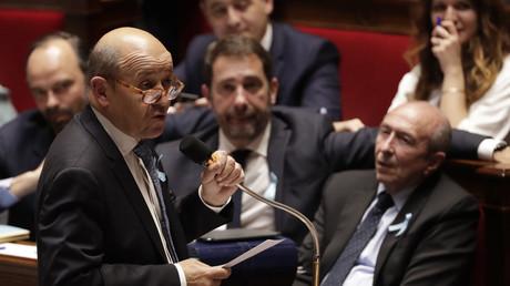 Le ministre français des Affaires étrangères Jean-Yves Le Drian le 28 mars 2018 dans l'hémicycle de l'Assemblée nationale. (image d'illustration)