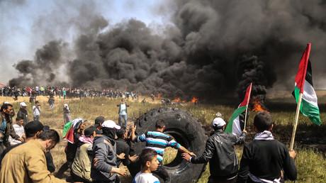 «Marche du retour» palestinienne le 6 avril, à la frontière entre Gaza et Israël