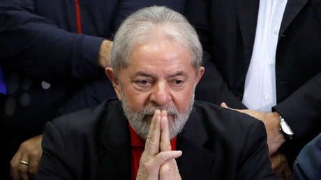 Lula au tribunal de Sao Paulo après sa condamnation en juillet 2017, illustration