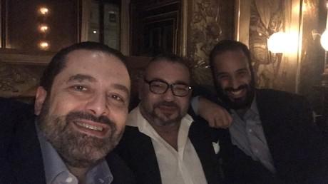 Le Premier ministre libanais Saad Hariri, le roi du Maroc Mohammed VI et le prince héritier saoudien Mohammed Ben Salmane
