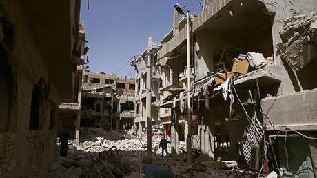 La ville de Douma, dans la Ghouta orientale près de Damas