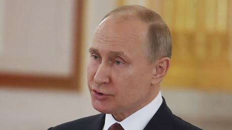 Vladimir Poutine lors d'une réception diplomatique au Kremlin le 11 avril, illustration