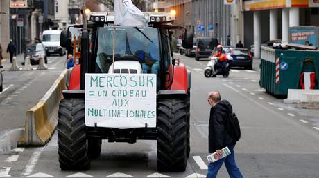 Manifestation d'agriculteurs lors d'un conseil des ministres de l'agriculture à Bruxelles le 29 janvier (illustration).