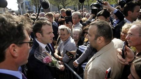 Le président français Emmanuel Macron le 18 avril 2018 à Saint-Dié-Des-Vosges.