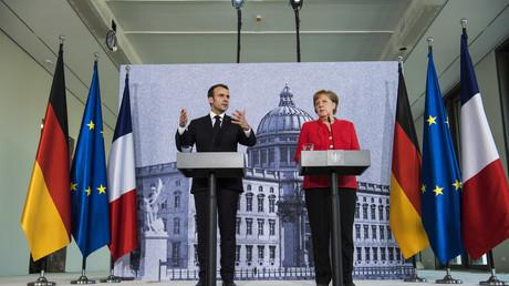 Conférence de presse commune d'Angela Merkel, chancelière d'Allemagne et d'Emmanuel Macron président de la République française à Berlin le 19 avril 2018.