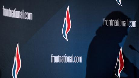 L'ombre du leader du Front national, Marine Le Pen, lors d'un discours prononcé devant les journalistes, à Lyon, lors du 15e Congrès du parti le 29 novembre 2014 (Illustration)