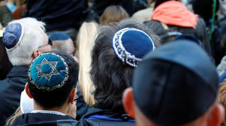 Manifestation le 25 avril 2018 devant une synagogue à Berlin pour dénoncer une attaque antisémite contre un jeune homme portant une kippa dans la capitale allemande. Illustration