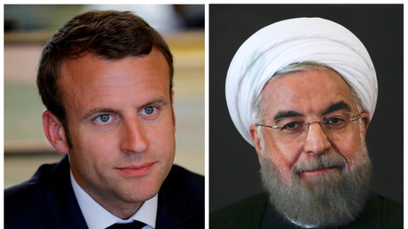 Emmanuel Macron et Hassan Rohani, montage photographique, illustration